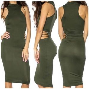 😍 Green Bodycon Dress Side Cut Out
